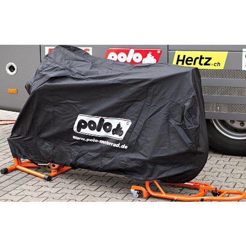 Polo Motorradabdeckung Motorradplane Motorradgarage Outdoor Abdeckplane, robust, hitzefest bis 200 °C, Gummizug, lackschonend, Schwarz, Größe M = 225/150 / 96 cm