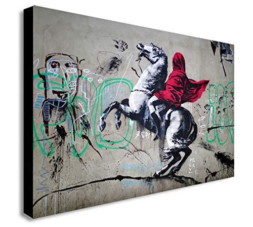 Banksy Impression sur toile encadrée Napoléon Crossing The Alps – Différentes tailles (A1 81,3 x 61 cm)