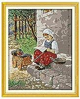 クロスステッチキャンバス初心者刺繍キットファーマーガール40x50cmDIY刺繍を刻印するためのスターターキット大人と子供のための創造的な贈り物11CT