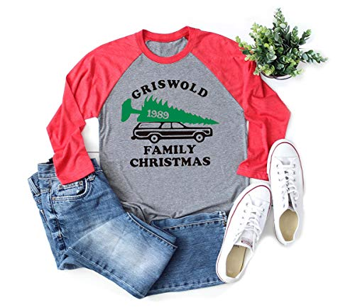 Christmas Vacation Shirt Womens Griswold Family Print Baseball Raglan Sleeve Casual Funny Shirts (M, Grey1)