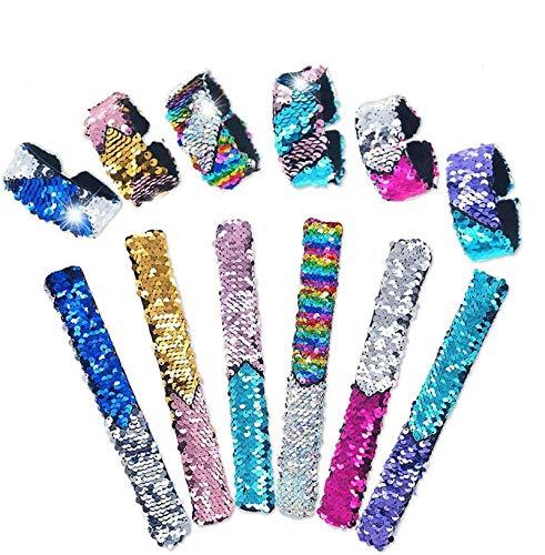 Sunshine smile Bunte Schnapparmbänder Kinder,6 Stück Pailletten Slap Armband,Pailletten Reversible Armbänder,Farbe Beruhigende Armbänder,Magische Armbänder für Party