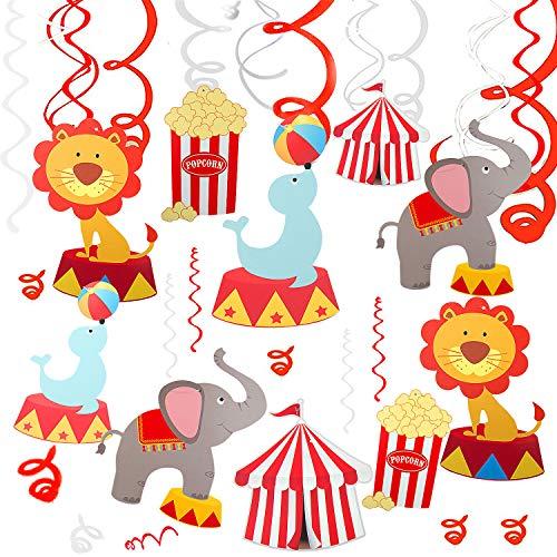 Comius 30 PCS Decorazioni a Spirale Ricciolo a Tema Circo a Spirale Cartone Animato Compleanno Decorazioni Pendenti, Carnevale Spirale Hanging Swirl per Bambini Feste Compleanno Carnevale Decorazioni