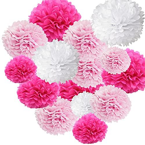 HONGECB Blanco Pompones De Papel, Pompom Flores, Pompones De Papel De Seda, Decoracion Flores Pom Pom, Decoraciones De Fiesta, Para Cumpleaños, Baby Bautizo, 24 Piezas, blanco, Rosa, Rosa roja