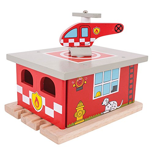 Bigjigs Rail Firestation Shed with Helipad & Fire Rescue Helicopter - Other Major Wood Rail Brands are Compatible