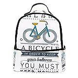 bibaodan Rucksack Geldbörse Laptoptasche für Damen Leder Mini Inspirational Zitat mit Fahrrad für Outdoor, Reisen