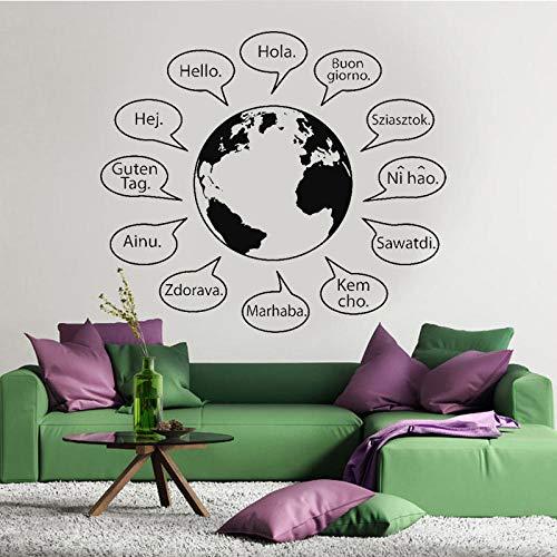 Hello Text Words Phrases Sentences Letters Language Wall Decor World Globe Map Earth Decal Vinyl Sticker Handmade 66x57cm