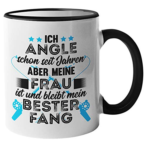 Tasse Angler Geschenk - Angeln Spruch Becher Geschenkidee - Kaffeetasse Fischer Fischen Ehemann Angel Kaffeebecher