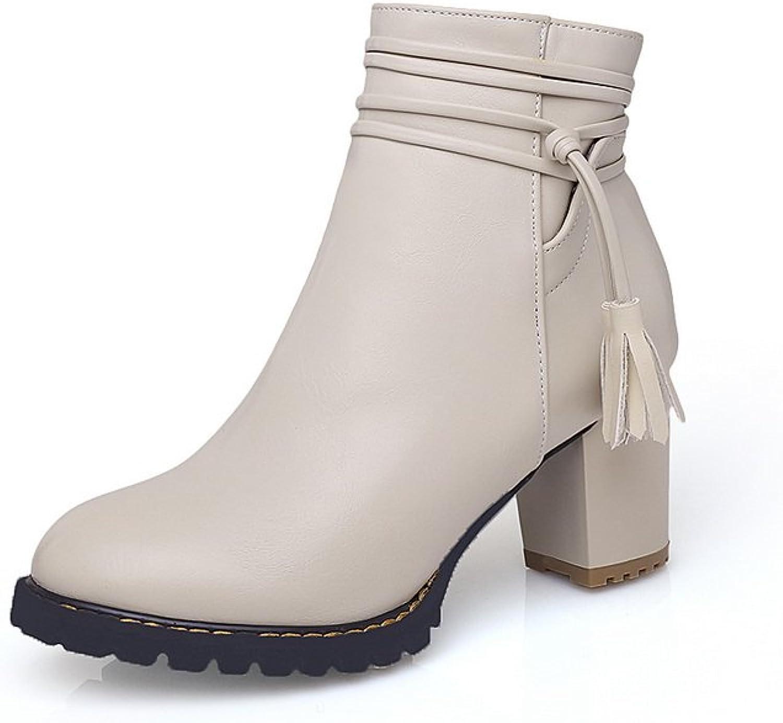 BalaMasa Womens Chunky Heels Zipper Tassels Imitated Leather Boots