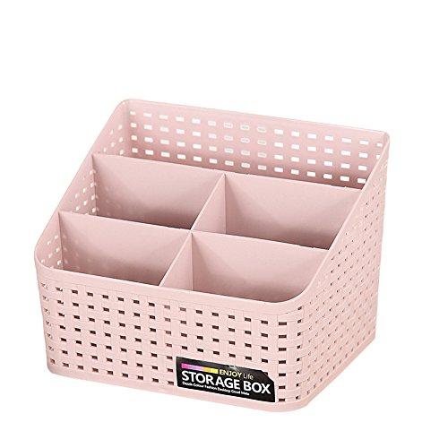 Gogogo Boîtes de Rangement, Multifonctions Organisateur de Bureau en Plastique - avec 5 Compartiments - pour pinceaux/Crayon - Rose