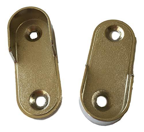 2X Oval Flansch 30x15mm / Wandhalterung – Halter für Kleiderstange Kleiderbügel-Halter Rohr/Stangen Schrankrohr Halterung Kleiderstangen Halter, Stahl