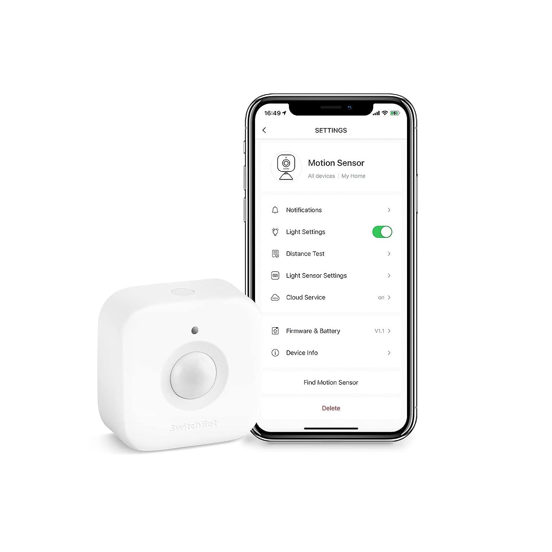 SwitchBot Smart Motion Door Sensor - Wireless Home Security System, PIR Motion Detector Alert, Add Hub Mini Compatible with Alexa