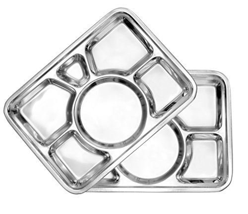 Darware Cafeteria Mess Trays (2-Pack); Stainless Steel 15 In. x 11 In. Rectangular 6-Compartment Divided Plates / Cafeteria Food Trays
