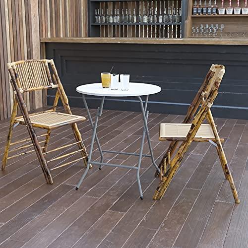 Flash Furniture Klapptisch für 4 Personen – Runder Bistrotisch aus Kunststoff – Wasserfester und schmutzabweisender Campingtisch für drinnen und draußen – Weiß