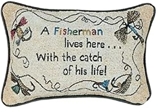 Manual 12.5 x 8.5-Inch Decorative Throw Pillow, A Fisherman Lives Here