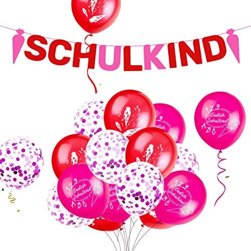 iZoeL Einschulung Deko Mädchen Rosa Girlande Schulkind + 15 Luftballon Schulanfang Dekoration Schulstart