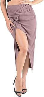 Womens Jersey Knit Ruched Twist Draped Front Split Asymmetrical Skirt Hot Fashion