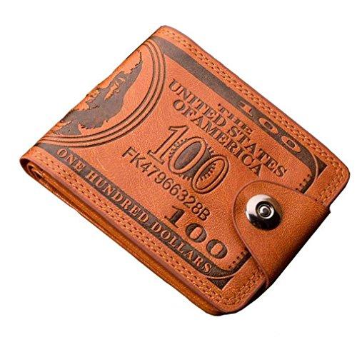Portafogli per Uomo Donne,Fittingran Coin Pocket Borsa, Uomo Donne Uomini Bifold Business in Pelle Portafoglio ID Carta di Credito Titolare Cerniera Tasche Porta Documenti (Marrone)