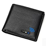 Smart Anti-Lost Bluetooth Tracker Wallet , Position Record (Via Phone GPS), Bifold Cowhide Leather Men's Wallets (Black)