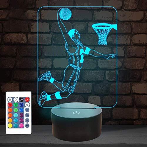 Basketball 3D Nachtlicht, Basketball Sport Geschenke Nachttischlampe für Weihnachten Urlaub Geburtstagsgeschenke für Kinder Baseball Fan mit Fernbedienung 16 Farben ändern