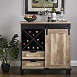 """Glitzhome Wood Rustic Wine Cabinet 2-Piece Bar Cabinet with Wine Storage 31.5""""L Sideboard Table with Drawer..."""