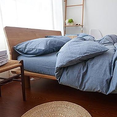 HOUSEHOLD 100% Cotton Duvet Cover Queen Size, 3 Piece Comforter Cover Set With Zipper Closure (Denim Blue, Queen)