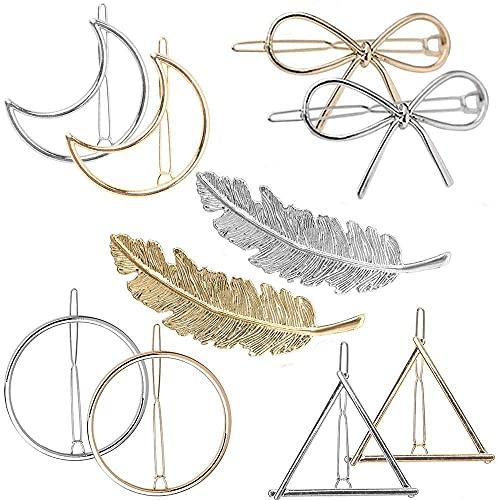 Basetousual 10 Pinzas para El Pelo De Metal Vintage, Círculo Triángulo Horquillas,...
