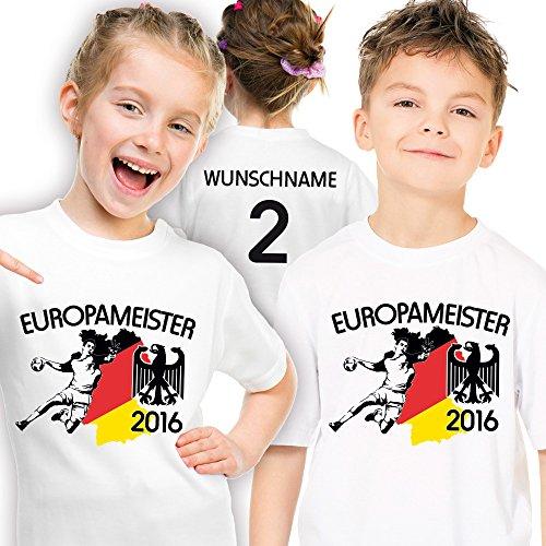 Shirtmacher Deutschland Kinder Handball Meister-Shirt personalisiert mit eigener Rückennummer und Wunschname Gr. 152