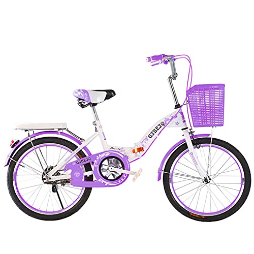 MIAOYO Plegable Bicicleta Infantil,Juventud Bicicleta Urbana con Asiento Ajustable Manillar,Ligero Mini Bicicleta Plegable para Los Niños Chicas,Púrpura,18'
