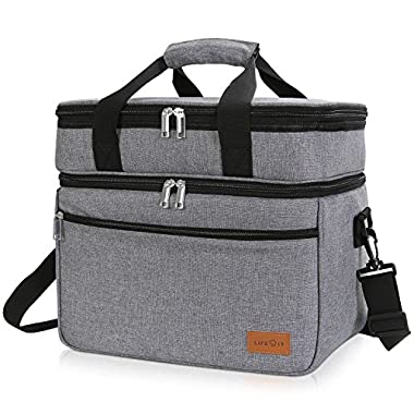 Lifewit 30 Can Double Deck Cooler Bag Insulated Lunch Bag Large Pocket Adjustable Strap Picnics, Parties, Tailgating, Camping,BBQ Grey