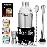 Barillio Elite Cocktail Shaker Set Bartender Kit 24 oz Stainless Steel Martini Mixer, Muddler, Mixing Spoon, jigger, 2 liquor pourers, Velvet Bag, Recipes Booklet & eBook