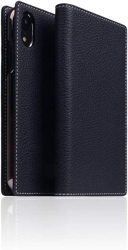SLG iPhone Xs Max Leather Wallet Case, D8 Full Grain Leather Diary Flip Cover Card Slot Holder with Gift Box, Handmade and Designed for Apple iPhone Xs Max (Black Blue)