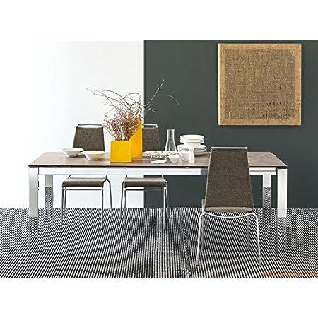 Calligaris Baron Ceramica Tavolo Allungabile 130 190 Cm Acciaio Satinato Stone Amazon It Casa E Cucina