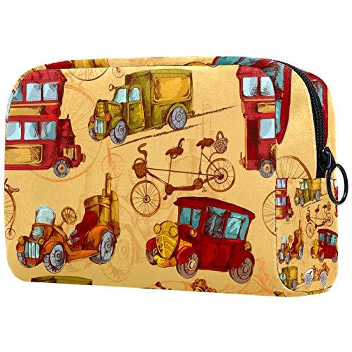 Reise-Kulturbeutel, Premium-wasserdichte Reisetasche mit verbessertem Reißverschluss, Retro-Transport-Werkzeuge, Auto, Jeep, Fahrrad