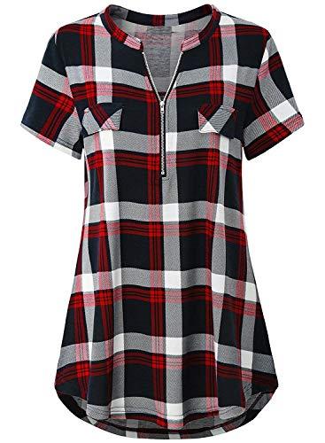 Odosalii Damen V-Ausschnitt Kariert Bluse 3/4 Ärmel Langarm Reißverschluss Tunika Longshirt Hemd Tops T-Shirt, L, B_rot Kariert_kurzarm