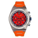 Otumm Big Date - Reloj unisex (45 mm, con correa naranja)