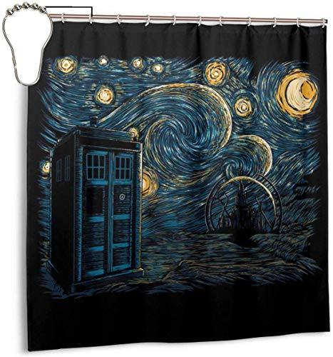 FFull-BAtttery-Shop Wasserdichter Duschvorhang aus Polyester Gallifrey Doctor Who Tardis Van Gogh Dekorativer Badvorhang mit Haken