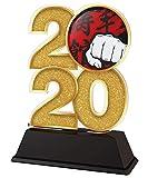 Trophy Monster Trofeo de artes marciales 2020, premio de oro, plata o bronce, hecho de acrílico impreso, 120 mm (oro)