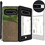 Galaxy S10, SKINU [Galaxy S10 Wallet] S10 Charger Dual Layer Hidden Credit Holder ID Slot Card Case with Wrist Strap Inner USB Type C Adapter and Mirror for Galaxy S10 (2019) - Wood