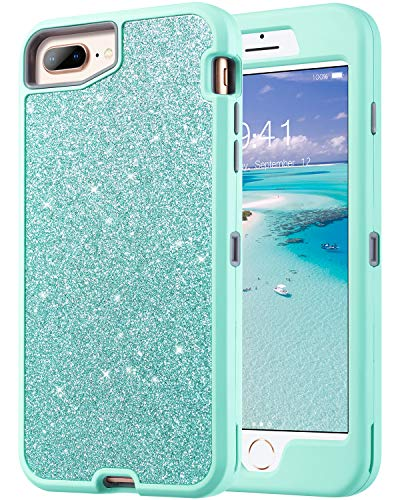 ULAK Sparkly Glitter Case for iPhone 8 Plus Case, iPhone 7 Plus Case, iPhone 6S Plus Case 5.5 inch for Girls, Luxury TPU Cover with Shiny Leather Heavy Duty Rugged Shockproof Protective Case, Green -  1389409031