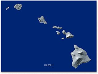 Hawaii State Map Print, Hawaiian Islands, HI, Navy Blue, Black and White Landscape Art