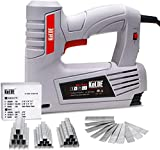 KeLDE T50 Electric Staple Gun Kit, 120V Electric Stapler/ Brad Nailer with Adjustable Firing Mode Switch, Includes 1500pcs T50 Staples and 500pcs 14mm Brad Nails for Carpentry, Decoration, Furniture