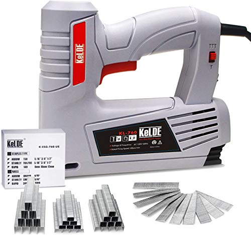 KeLDE Electric Staple Gun Kit, 120V Electric Stapler/ Brad Nailer with Adjustable Firing Mode Switch, Includes 1500pcs T50 Staples and 500pcs 14mm Brad Nails for Carpentry, Decoration, Furniture