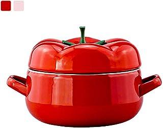Mini olla para estofado con tapa, horno holandés esmaltado en forma de tomate, 18 cm/2,0 L, revestimiento antiadherente, versátil cacerola, 2 colores disponibles, Aleación, rosso, Large