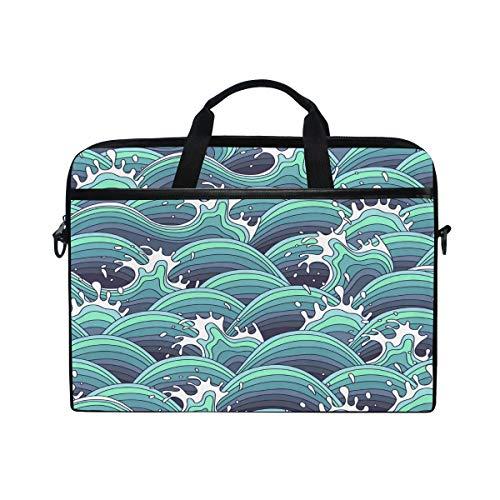 HaJie Laptop Bag Japanese Ocean Wave Pattern Print Computer Case 14-14.5 in Protective Bag Travel Briefcase with Shoulder Strap for Men Women Boy Girls