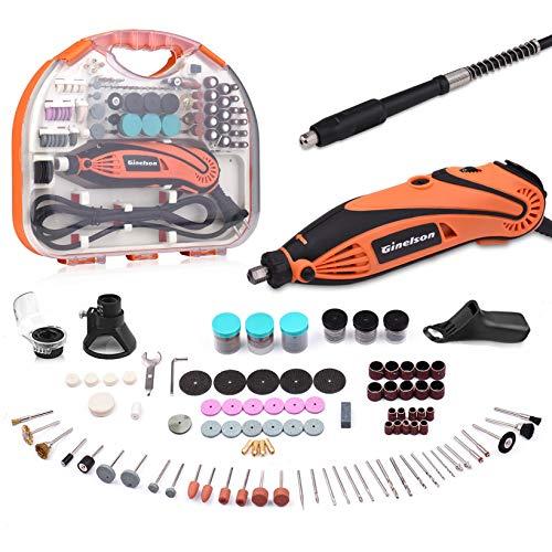 Mini Amoladora Eléctrica, GINELSON Kit de Herramientas Rotativas Multifunción sin Llave/Eje Flexible con 150 Accesorios, 6 Velocidad Variable para Manualidad y DIY cortar/lijar/grabar/limpiar/pulir.