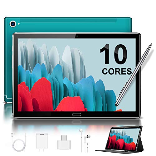 5G Tablet 10.8'' Pulgadas Deca-Core 4GB de RAM 64GB/512GB de ROM Android 10.0 Certificado por Google GMS 2.3Ghz Tablet PC Batería 8000mAh LTE Dual SIM Dual Cámara 8MP+16MP WiFi/Bluetooth/GPS(Verde