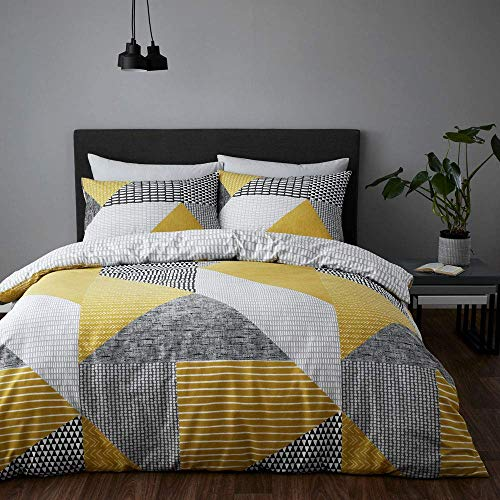 Catherine Lansfield Larsson Geo Easy Care Double Duvet Set Ochre