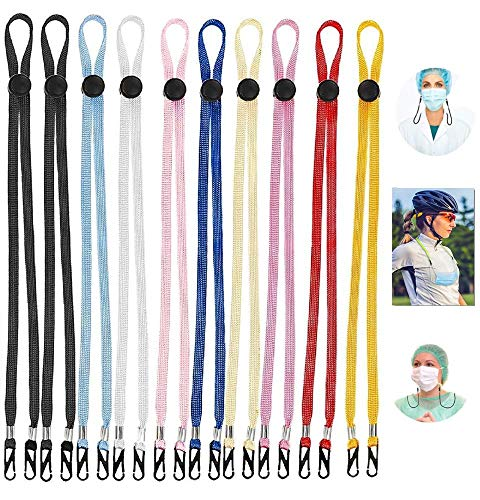 10 Piece Pack Face Mask Lanyard for Kids Adults Men Women – Colorful Adjustable Length Strap Necklace- Clips for Hands Free, Ear Relief, Holder Chain, Comfortable Lightweight