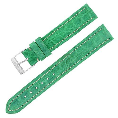 Breitling 15-14 mm Alligator-Leder Grün Damen Uhrenarmband mit Schnalle