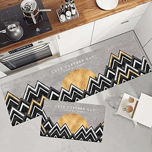 HLXX Simple cartoon doormat kitchen floor mat entrance doormat bathroom non-slip long carpet washable carpet A8 50x80cm
